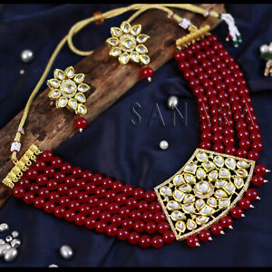 Indian Bollywood Gold Plated Red Pearl Necklace & Earring Party Women Jewelry
