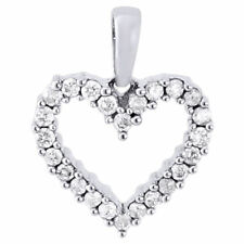 14K White Gold Diamond Ladies Cut Out Heart Pendant  0.32 CT.