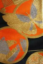 Vintage Japanese Kimono Obi Fabric Black Brocade Butterfly gold threads D