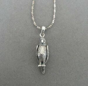 Parrot Bird Wings Move Sterling SIlver 925 Pendant Chain Necklace