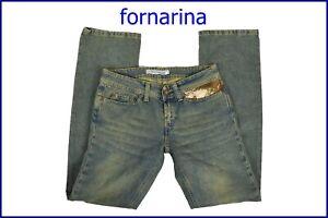 fornarina jeans da donna pantaloni vita bassa gamba dritta larghi bootcut 27 40