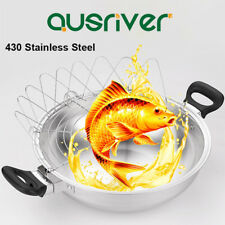 35cm Stainless Steel 3 In1 Magic Pot Non-stick Fry Pan Steamer Wok Cookware Lid