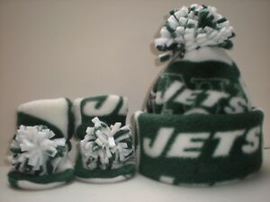 JETS BABY HAT HANDMADE newborn BEANIE  & BOOTIES 3 PIECE FLEECE SET NFL NEW YORK