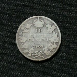 1909 Canadian dime, broad leaves (10 cent coin) - Silver (.925)