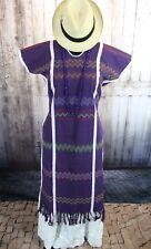 Aubergine Purple Color Amuzgo Huipil Dress Hand woven Mexico Cowgirl Hippie Boho