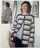 "Ladies Striped Long Line Cardigan Crochet Pattern Chest 34 - 40"" 4 Ply  YE524"