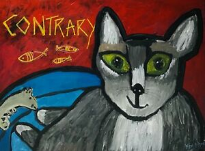 CONTRARY CAT Animal Painting Original Acrylic Art by Kim Magee New