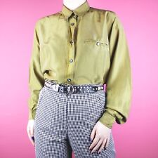 VINTAGE Silk Beige Gold Womens 80s 90s Minimal Basic Retro Blouse Shirt Top M 12