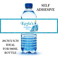 CINDERELLA PERSONALISED SELF ADHESIVE WATER BOTTLE LABEL BIRTHDAY PARTY X 6