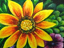 Watercolor Painting Yellow Flower Garden Nature ACEO Art '
