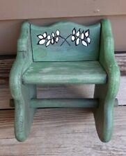 Vintage rustic wooden toilet paper holder w/ leaf design handmade  mottled green