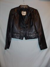 Vintage Bermans Black Leather Crop Jacket Size 12 Excellent Punk Rockabilly Goth