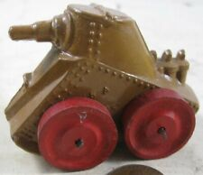 Vintage Manoil Barclay Army Soldier Tank With Wood Wheels