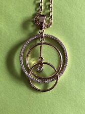 Nib Touchstone Necklace 32 Inch Rose Blush Ring Round Pendant Necklace Swarovski
