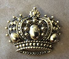 Fab!!! TARA Vintage Signed Goldtone Detailed 3D Collectible Crown Brooch