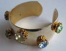 Vintage Gold Cuff Bracelet with Large Pastel Rhinestones