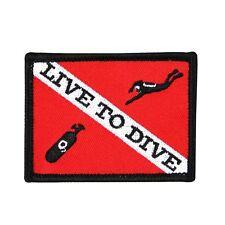 "Scuba Fanatic ""Live to Dive"" Apparel Patch Sport & Recreation Iron-On Applique"