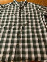 Carhartt Men's 100% Cotton Short Sleeve Button-up Shirt Green Plaid Sz 2XL Euc