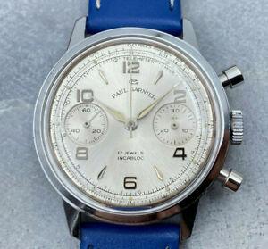 GORGEOUS 1960s Paul Garnier Valjoux 7730 Chronograph Watch - Fresh Service!