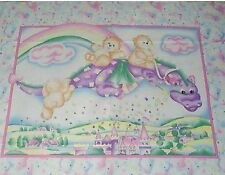 Magical Dragon Rainbow Castle Baby Quilt top Panel Fabric 100% Cotton Teddy Bear