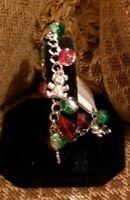 NWT Silvertone Red & Green Rhinestone Christmas Teddy Bear Charm Bracelet