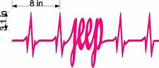 "Jeep Heartbeat EKG Sticker Decal in BLUSH PINK  8"" x 3 ""   6 yr VINYL"