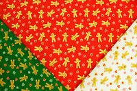 CHRISTMAS (XMAS) GINGERBREAD MAN, STARS & HEARTS - PRINTED POLY COTTON FABRIC