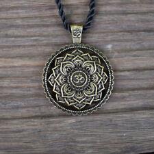 Necklace OM Mandala Pendant Bronze Buddha Tibetan Healing Lotus Flower Buddhist