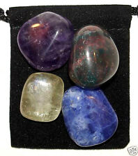SPIRITUAL AWARENESS Tumbled Crystal Healing Set = 4 Stones + Pouch + Card