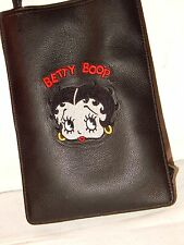 Betty Boop Heavy Black Genuine Leather Purser Embroidered Logo MadeUSA Authentic
