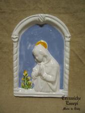 Madonna con giglio stile DELLA ROBBIA arco ceramica decorata a mano