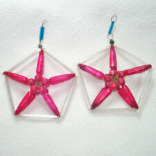 Pair Czech Wire Beaded Pink White Glass Christmas Ornaments