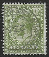 SG393a.  9d.Olive Green. Fine CDS Used.  Cat.£30. Ref:0/36
