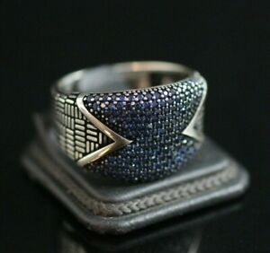925 Sterling Silver Handmade Authentic Turkish Sapphire Men's Ring Size 10