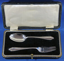 BOXED SILVER FORK & SPOON SET by WILLIAM SUCKLING, BIRMINGHAM 1924