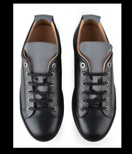 Lanvin Black Reflective Tongue Panel Leather Sneaker 10 NWB