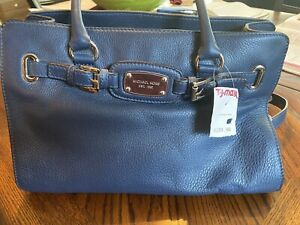 Michael Kors Hamilton Satchel Bag with Gold Chain -Blue New with tags, Medium