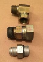 """Mixed Lot of 3 Steel Air Fittings Swivel Elbow Female Flare Connector 1"""" 1/2"""""""