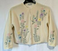 1960s Ambassador Hotel Arcade Hong Kong Cardigan Floral Beaded Sweater Size 40