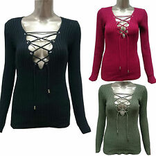 Ladies Womens Knitted Lace Front Tie Up V Neck Ribbed Stretch Fitted Jumper Top