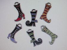 12 Enamel WITCH SHOE CHARMS Halloween charms witch feet boots shoes stockings