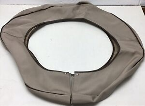 Packard Spare Tire Cover Beige With Brown Piping