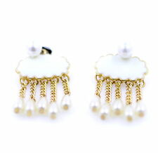 Super cute white cloud and hanging pearl raindrop stud Earrings