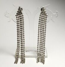 Magnificent Earrings Silver Tone Round Cut Bead Chains Studded Dangle