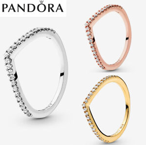 ALE S925 Genuine Silver Pandora Sparkling Wishbone Ring With Gift Box