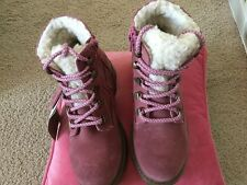 M&S - girls pink suede, warm lined boots-size 12