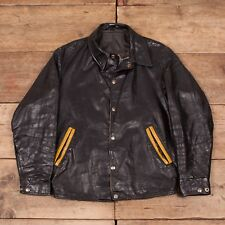 """Vintage pour homme 1960 S noir cuir COACH Varsity Jacket Small 34"""" XR 8541"""