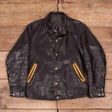 "Mens Vintage 1960s Black Leather Coach Varsity Jacket Small 34"" XR 8541"