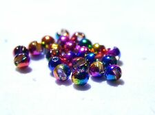 25 Slotted Tungsten Rainbow Hued Beads (Size 2.4 mm)