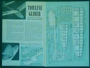"""Towline Glider 36"""" wingspan 1946 How-To build PLANS 4 minute flights"""